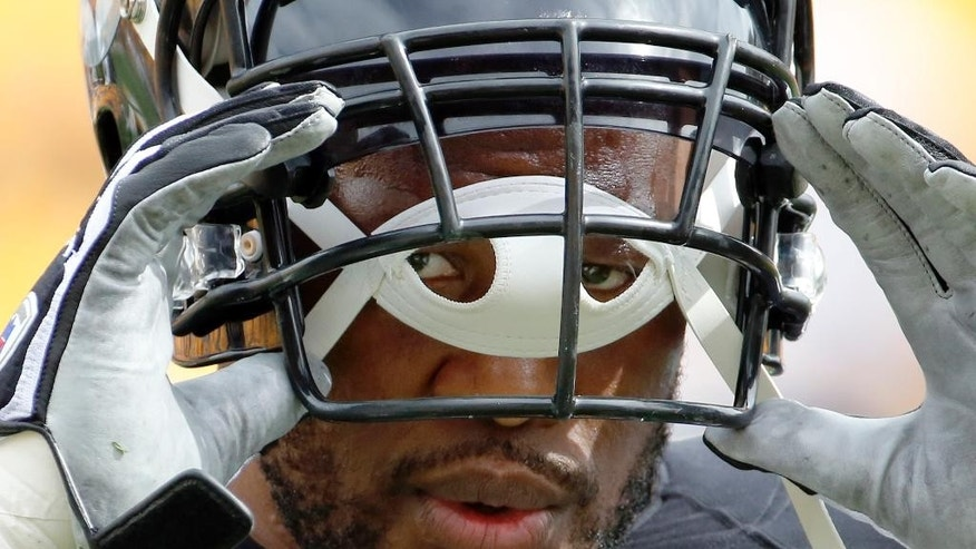 Pittsburgh Steelers linebacker James Harrison (92) peers through the holes in his chinstrap as he warms up before the NFL football game against the Tampa Bay Buccaneers on Sunday, Sept. 28, 2014 in Pittsburgh. (AP Photo/Gene J. Puskar)