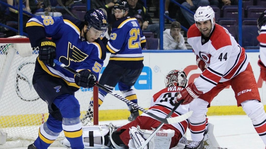 St. Louis Blues' Magnus Paajarvi (56) battles Carolina Hurricanes' Jay Harrison (44) for the loose puck in the second period of a preseason NHL hockey game, Tuesday, Sept. 30, 2014 in St. Louis. (AP Photo/Tom Gannam)