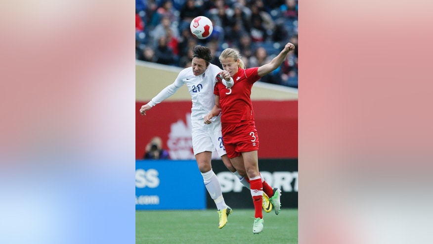 FILE - In this May 8, 2014, file photo, United States' forward Abby Wambach (20) goes up for the header against Canada's defender Rebecca Quinn (3) during first half of an exhibition soccer match in Winnipeg, Manitoba. A group of elite players has filed a lawsuit in Canada challenging plans to play the 2015 Women's World Cup on artificial turf. The players, led by U.S. women's national team forward Abby Wambach, filed Wednesday, Oct. 1, 2014, in the human rights tribunal of Ontario next week, attorney Hampton Dellinger said.  (AP Photo/The Canadian Press, John Woods, File)