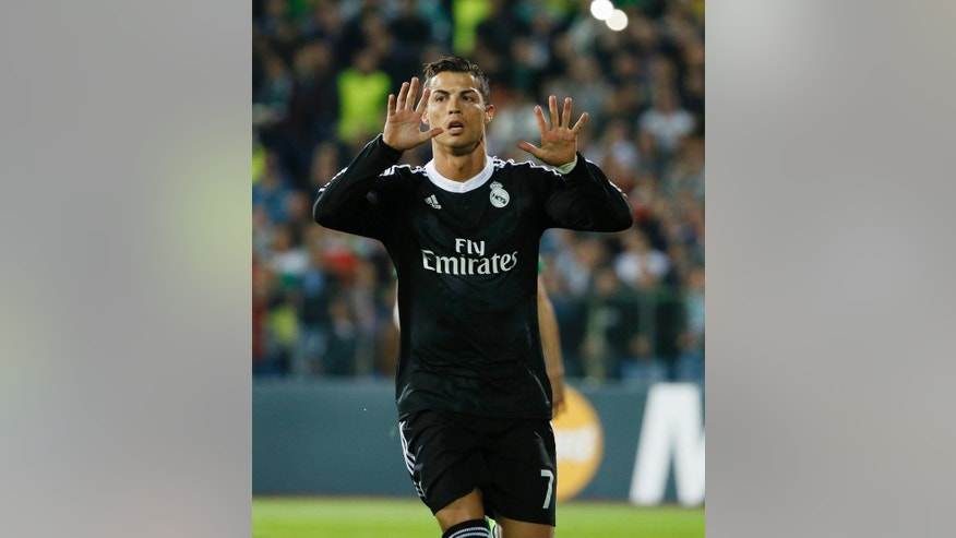 Real Madrid's Ronaldo celebrates his goal against Ludogorets during their Champions League group B soccer match at Vassil Levski stadium in Sofia, Wednesday, Oct. 1, 2014. (AP Photo)