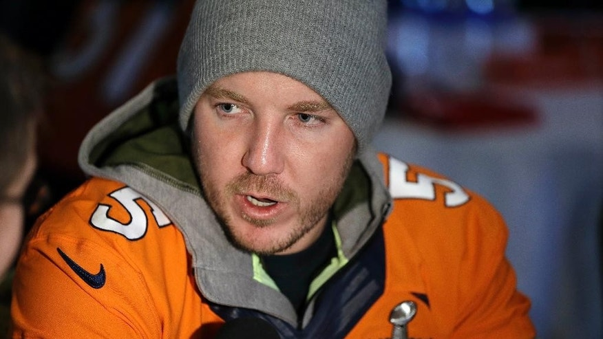 "FILE - In this Jan. 30, 2014, file photo, Denver Broncos kicker Matt Prater talks with reporters during a news conference in Jersey City, N.J. The Broncos have cut ties with Prater, Friday, Oct. 3, 2014, who's about to come off his four-game suspension. In a statement, GM John Elway said releasing Prater was ""a very difficult football decision."" (AP Photo/File)"