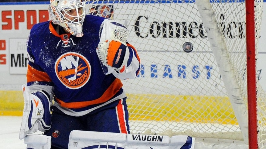 New York Islanders goalie Chad Johnson watches as the first goal by the Bosotn Bruins goes past him, during the first period of a preseason NHL hockey game in Bridgeport, Conn., on Friday, Oct. 3, 2014. (AP Photo/Fred Beckham)