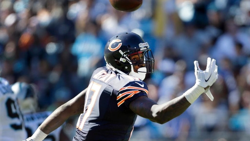 Chicago Bears' Alshon Jeffery (17) misses a pass against the Carolina Panthers during the second half of an NFL football game in Charlotte, N.C., Sunday, Oct. 5, 2014. The Panthers won 31-24. (AP Photo/Bob Leverone)