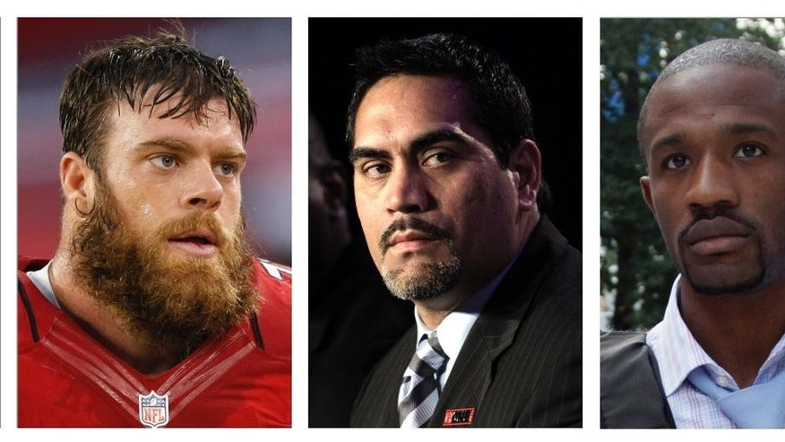 FILE - From left are file photos showing Eric Winston, Kevin Mawae and Domonique Foxworth. When Roger Goodell and several NFL owners were asked Wednesday, Oct. 8, 2014, how long a revamping of the NFL's personal conduct policy would take, they preached patience. Three men who have led the players' union must have been nodding their heads in agreement. Current NFLPA leader Winston and past presidents Mawae and Foxworth say that has always been the union's approach since DeMaurice Smith became executive director in 2009. They believe it's the only way to do business. (AP Photo/File)