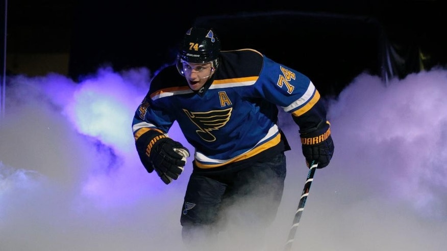 St. Louis Blues' T.J. Oshie takes the ice before an NHL hockey game against the New York Rangers, Thursday, Oct. 9, 2014, in St. Louis. (AP Photo/Tom Gannam)