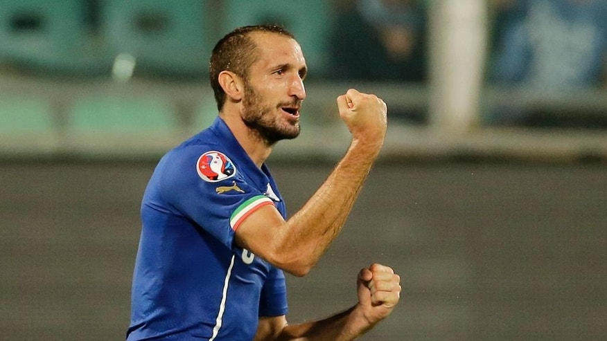 Italy's Giorgio Chiellini, right, celebrates after scoring during the Euro 2016 qualifying soccer match between Italy and Azerbaijan, at the La Favorita stadium, in Palermo, Italy, Friday, Oct. 10, 2014. (AP Photo/Antonio Calanni)