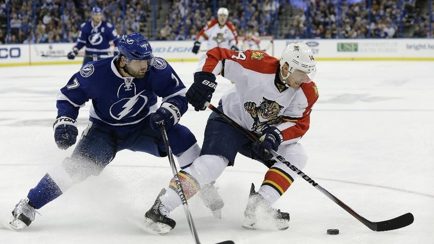 Florida Panthers left wing Tomas Fleischmann (14), of the Czech Republic, stops short in front of Tampa Bay Lightning defenseman Radko Gudas (7), of the Czech Republic, during the first period of an NHL hockey game Thursday, Oct. 9, 2014, in Tampa, Fla. (AP Photo/Chris O'Meara)