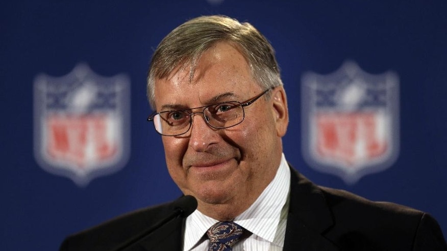 Terry Pegula, who was just approved to purchase the Buffalo Bills, speaks at a news conference during a meeting of NFL owners and executives in New York, Wednesday, Oct. 8, 2014.  (AP Photo/Seth Wenig)