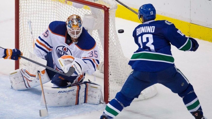Vancouver Canucks center Nick Bonino (13) tries to get a shot past Edmonton Oilers goaltender Viktor Fasth (35) during the second period of NHL action in Vancouver, British Columbia Saturday, Oct. 11, 2014. (AP Photo/The Canadian Press, Jonathan Hayward)