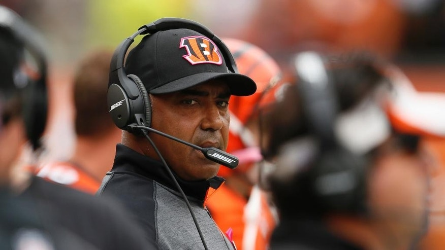 Cincinnati Bengals head coach Marvin Lewis stands sideline in the second half of an NFL football game against the Carolina Panthers, Sunday, Oct. 12, 2014, in Cincinnati. (AP Photo/Paul Sancya)