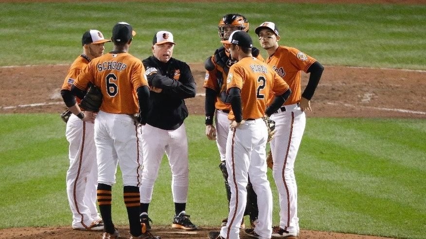 Baltimore Orioles manager Buck Showalter, middle, talks to the infielders during a pitching change in the eighth inning of Game 2 of the American League baseball championship series against the Kansas City Royals   Saturday, Oct. 11, 2014, in Baltimore. (AP Photo/Charlie Riedel)