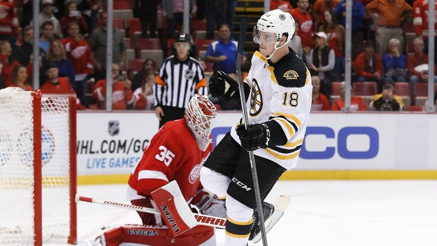 Boston Bruins right wing Reilly Smith (18) celebrates his shootout goal against Detroit Red Wings goalie Jimmy Howard (35) in an NHL hockey game in Detroit, Wednesday, Oct. 15, 2014. Boston won 3-2 in the shootout. (AP Photo/Paul Sancya)