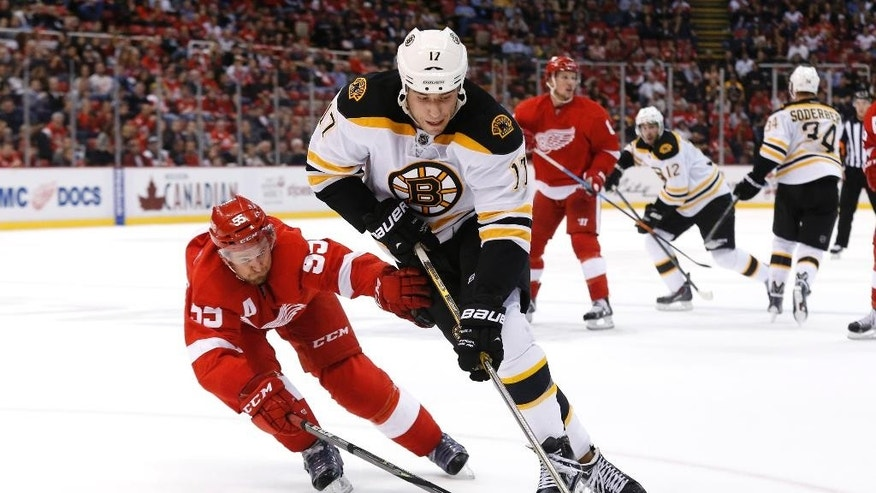 Detroit Red Wings defenseman Niklas Kronwall (55) defends against Boston Bruins left wing Milan Lucic (17) in the third period of an NHL hockey game in Detroit, Wednesday, Oct. 15, 2014. (AP Photo/Paul Sancya)