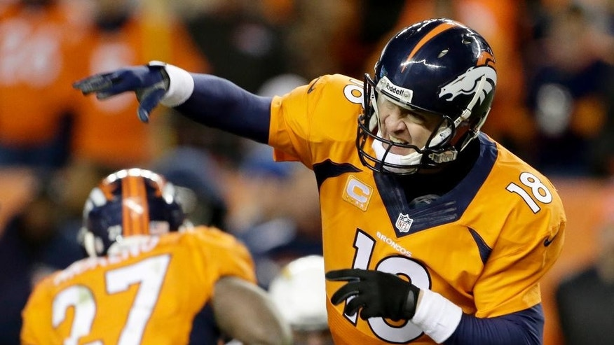 FILE - In this Jan. 12, 2014, file photo, Denver Broncos quarterback Peyton Manning (18) passes against the San Diego Chargers in the fourth quarter of an NFL AFC division playoff football game in Denver. Next Sunday, Oct. 19, 2014, against San Francisco, or perhaps the following Thursday against San Diego, Manning will surpass Brett Favre's NFL record 508 touchdown passes. Manning is two shy after throwing for three scores in a 31-17 victory over the New York Jets on Sunday, Oct. 12, 2014. (AP Photo/Charlie Riedel, File)