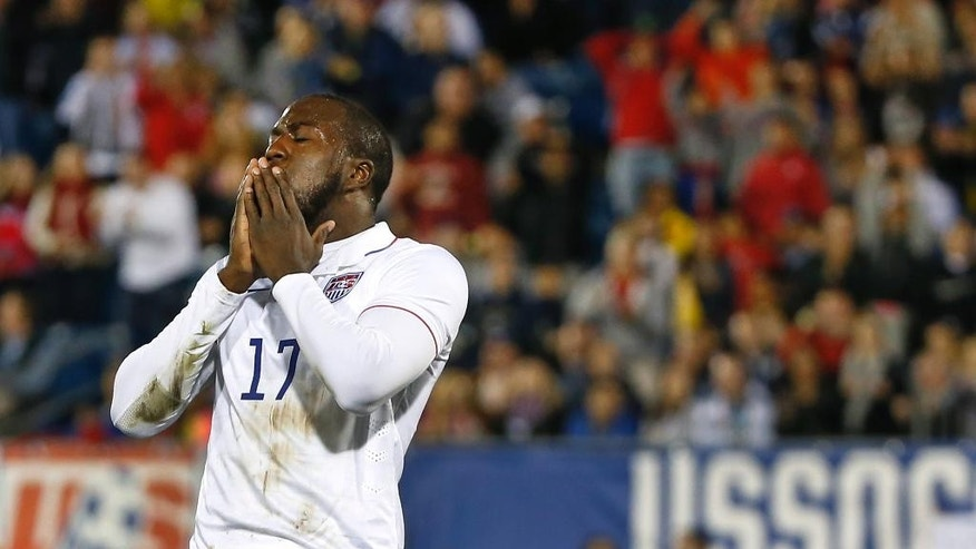 In this Oct. 10, 2014 photo, United States' Jozy Altidore reacts after shooting and missing during an exhibition soccer match against Ecuador in East Hartford, Conn. Following the fortunes of U.S. players on top clubs in Europe's best leagues doesn't take much time these days. Except for the goalkeepers, most of the Americans in the most competitive first divisions are struggling for playing time. (AP Photo/Elise Amendola, file)