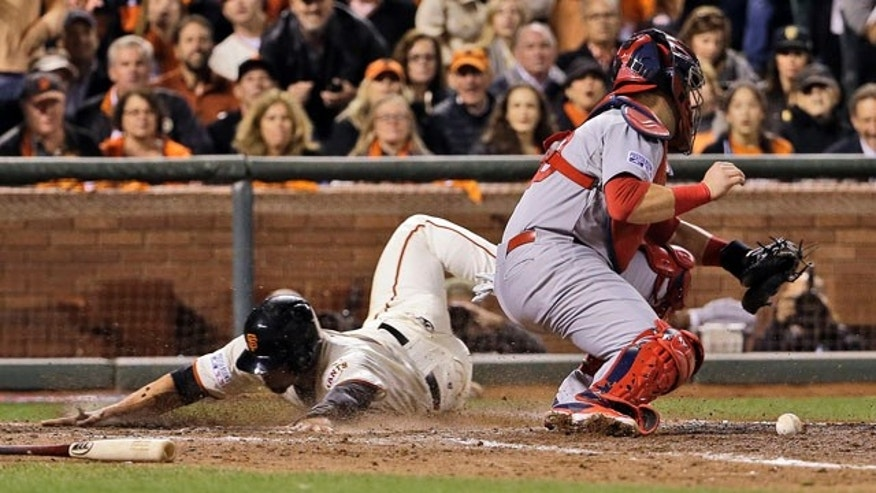 October 15, 2014: San Francisco Giants' Juan Perez, left, scores past St. Louis Cardinals catcher A.J. Pierzynski on a hit by Gregor Blanco during the sixth inning of Game 4 of the National League baseball championship series in San Francisco. (AP Photo/David J. Phillip)