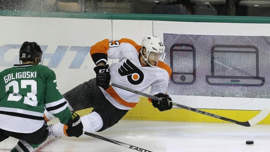 Philadelphia Flyers right wing Jakub Voracek (93) tries to keep control of the puck against Dallas Stars defenseman Kevin Connauton (23) during the second period of an NHL hockey game Saturday, Oct. 18, 2014, in Dallas. (AP Photo/LM Otero)
