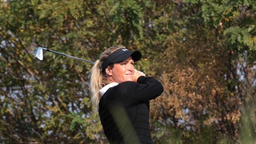 Suzann Pettersen of Norway watches her shot on the 17th hole during the third round of the LPGA KEB Hana Bank Championship golf tournament at Sky72 Golf Club in Incheon, South Korea, Saturday, Oct. 18, 2014. (AP Photo/Ahn Young-joon)