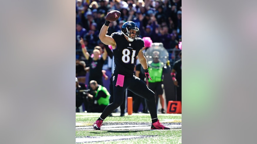 Baltimore Ravens tight end Owen Daniels spikes the ball after scoring a touchdown in the first half of an NFL football game against the Atlanta Falcons, Sunday, Oct. 19, 2014, in Baltimore. (AP Photo/Gail Burton)