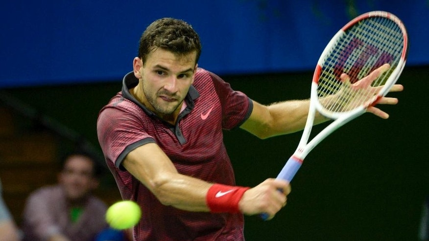 Grigor Dimitrov of Bulgaria returns a shot during the Stockholm Open men's tennis final against Tomas Berdych of the Czech Republic, Stockholm, Sunday Oct. 19, 2014. (AP Photo / Jonas Ekstromer) **  SWEDEN OUT  **