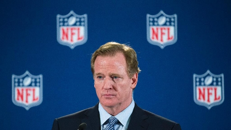 In this Oct. 8, 2014, photo, NFL Commissioner Roger Goodell speaks during a news conference following a meeting of NFL owners and executives in New York. A person familiar with the case has told The Associated Press that an arbiter has ruled that Goodell should testify in Ray Rice's appeal of his indefinite suspension. The person spoke on condition of anonymity because details of the appeal have not been made public. (AP Photo/John Minchillo)