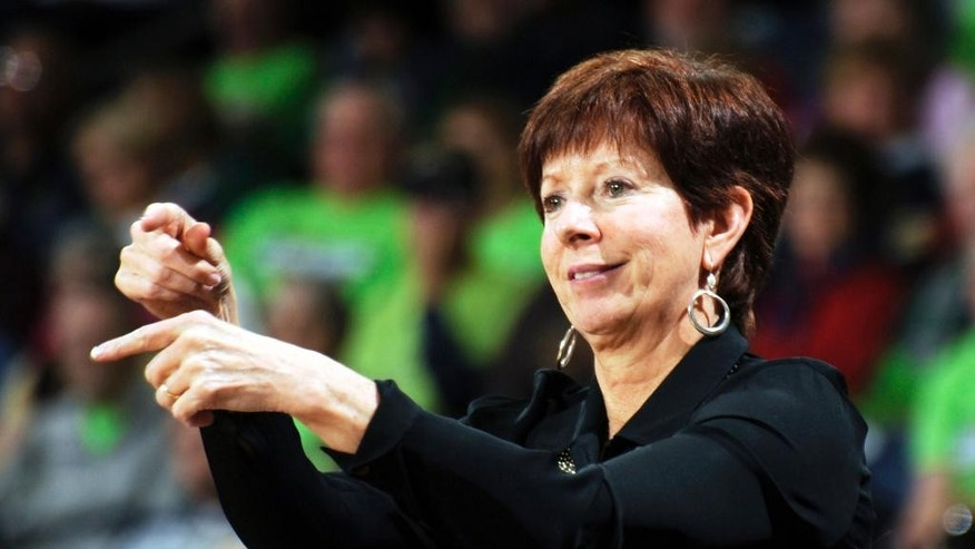FILE - In this Nov. 9, 2013, file photo, Notre Dame coach Muffet McGraw talks to her team during the second half of an NCAA college basketball game against UNC Wilmington in South Bend, Ind. Defending Atlantic Coast Conference champion Notre Dame is the consensus preseason favorite while Louisville was picked third by both the league's coaches and a panel of school representatives and media members. (AP Photo/Joe Raymond, File)