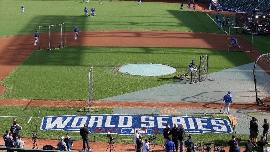 The Kansas City Royals take batting practice during a workout Thursday, Oct. 23, 2014, in San Francisco. The Royals and the San Francisco Giants are scheduled to play Game 3 of baseball's World Series in San Francisco on Friday. (AP Photo/Eric Risberg)