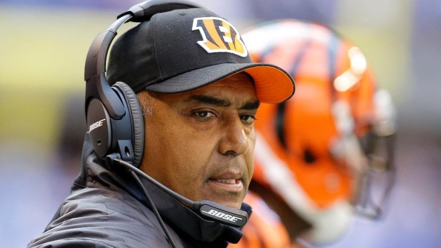 Cincinnati Bengals head coach Marvin Lewis watches from the sideline during the first half of an NFL football game against the Indianapolis Colts, Sunday, Oct. 19, 2014, in Indianapolis. (AP Photo/Michael Conroy)