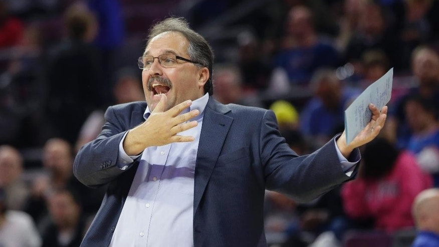 Detroit Pistons coach Stan Van Gundy reacts on the sideline during the first half of the Pistons' NBA basketball game against the Philadelphia 76ers in Auburn Hills, Mich., Thursday, Oct. 23, 2014. (AP Photo/Carlos Osorio)