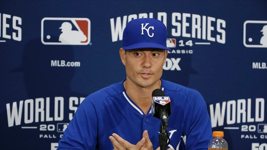 Kansas City Royals starting pitcher Jeremy Guthrie gestures while answering questions  during a news conference Thursday, Oct. 23, 2014, in San Francisco. The Royals are scheduled to face the San Francisco Giants the third game of baseball's World Series on Friday, with Guthrie starting. (AP Photo/Eric Risberg)