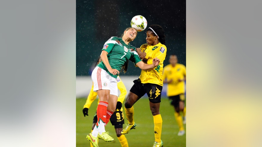 Mexico's Lydia Nayeli Rangel (7) heads the ball against Jamaica's Donna-Kay Henry (4) during the second half of a CONCACAF soccer match at RFK Stadium, Tuesday, Oct. 21, 2014, in Washington. Mexico won 3-1. (AP Photo/Nick Wass)