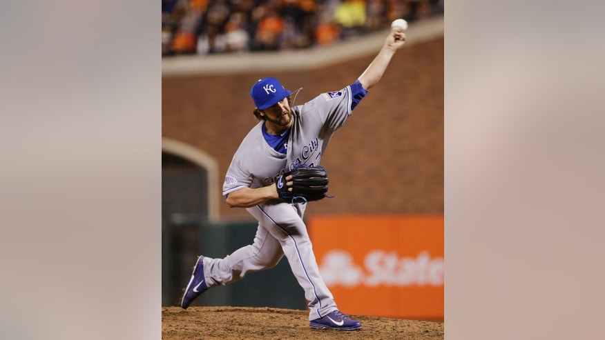 Kansas City Royals pitcher Brandon Finnegan throws during the seventhy inning of Game 3 of baseball's World Series against the San Francisco Giants Friday, Oct. 24, 2014, in San Francisco. (AP Photo/Matt Slocum)