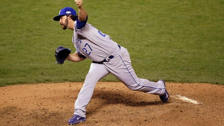 Kansas City Royals pitcher Brandon Finnegan throws during the seventh inning of Game 3 of baseball's World Series against the San Francisco Giants Friday, Oct. 24, 2014, in San Francisco. (AP Photo/Eric Risberg)