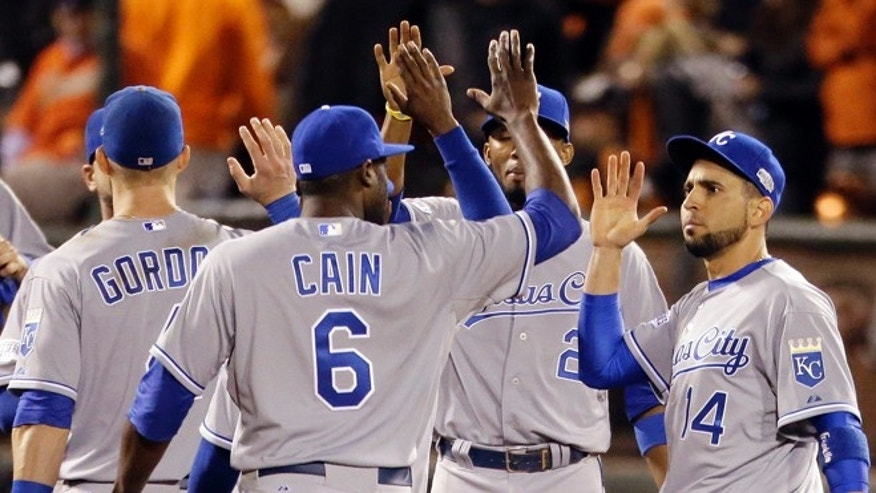 Oct. 24, 2014: The Kansas City Royals celebrate after their 3-2 win over the San Francisco Giants in Game 3 of baseball's World Series