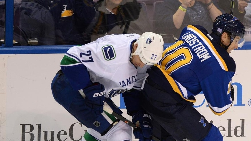 St. Louis Blues' Joakim Lindstrom (10), of Sweden, and Vancouver Canucks' Shawn Matthias (27) look for the puck during the third period of a NHL hockey game, Thursday, Oct. 23, 2014, in St. Louis. (AP Photo/Bill Boyce)