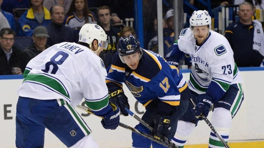 St. Louis Blues' Jaden Schwartz (17) skates between Vancouver Canucks' Christopher Tanev (8) and Alexander Edler (23), of Sweden, during the second period of a NHL hockey game, Thursday, Oct. 23, 2014, in St. Louis. (AP Photo/Bill Boyce)