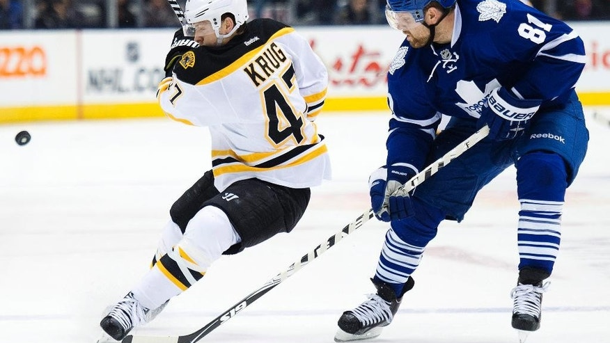 Toronto Maple Leafs forward Phil Kessel (81) battles for the puck against Boston Bruins forward David Krejci (46) during second period NHL hockey action in Toronto on Saturday, Oct. 25, 2014. (AP Photo/The Canadian Press, Nathan Denette)