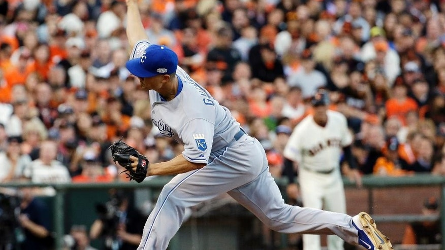 Kansas City Royals pitcher Jeremy Guthrie throws during the first inning of Game 3 of baseball's World Series against the San Francisco Giants Friday, Oct. 24, 2014, in San Francisco. (AP Photo/David J. Phillip)