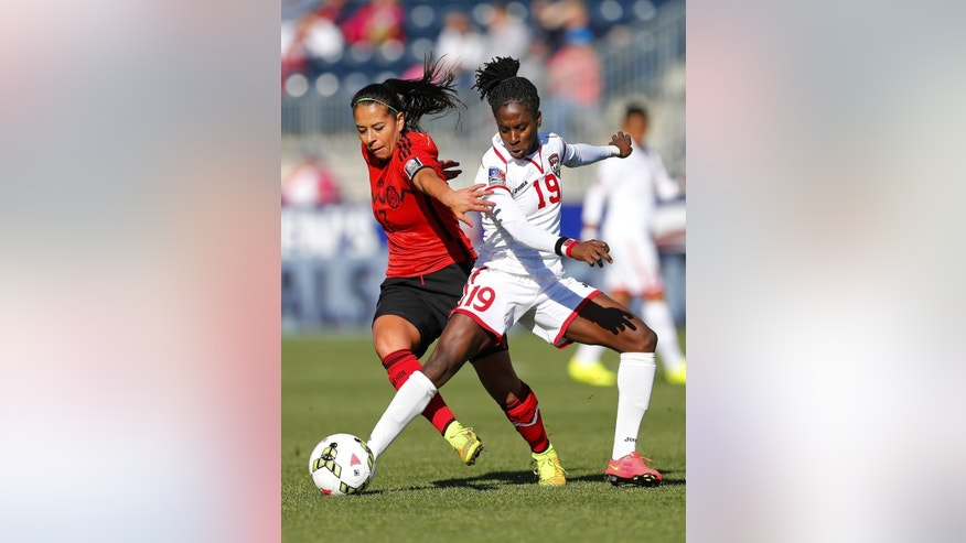 Mexico forward Veronica Perez (17) battles Trinidad and Tobago forward Kennya Cordner (19) for control of the ball in the first half during a CONCACAF consolation soccer match in Chester, Pa., Sunday, Oct. 26, 2014. (AP Photo/Rich Schultz)
