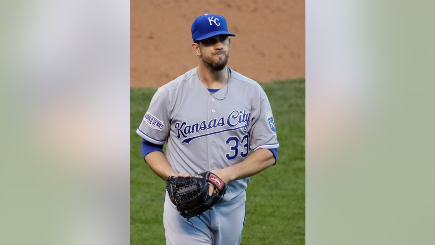 Kansas City Royals pitcher James Shields makes his way back to the dugout after the San Francisco Giants scored during the second inning of Game 5 of baseball's World Series Sunday, Oct. 26, 2014, in San Francisco. (AP Photo/Eric Risberg)