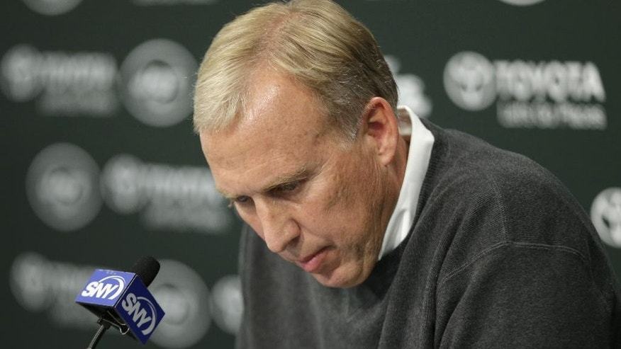 New York Jets general manager John Idzik speaks during a news conference in Florham Park, N.J., Monday, Oct. 27, 2014. (AP Photo/Seth Wenig)