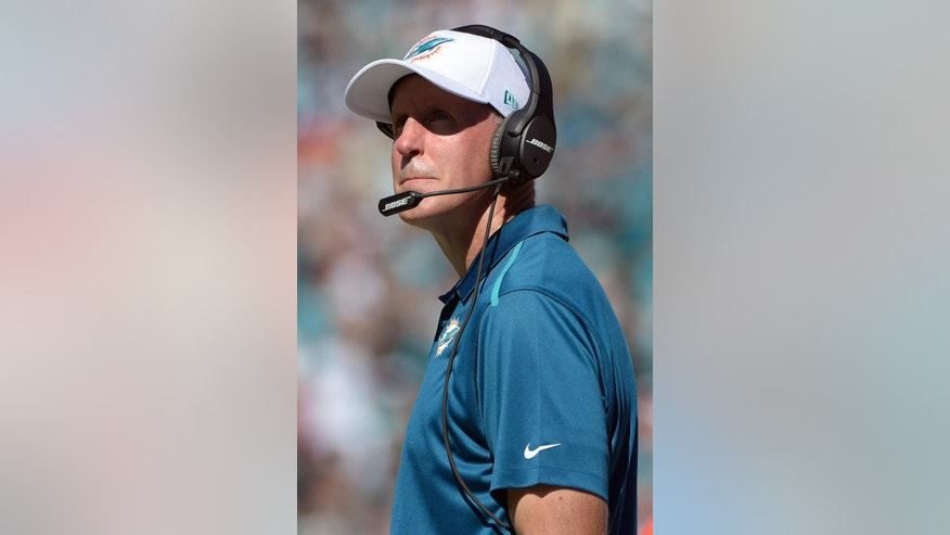 Miami Dolphins head coach Joe Philbin watches from the sideline during the first half of an NFL football game against the Jacksonville Jaguars in Jacksonville, Fla., Sunday, Oct. 26, 2014. (AP Photo/Phelan M. Ebenhack)