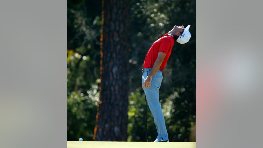 Will MacKenzie reacts after missing a birdie putt on the 10th green during the final round of the McGladrey Classic golf tournament on Sunday, Oct. 26, 2014, in St. Simons Island, Ga. (AP Photo/Stephen B. Morton)