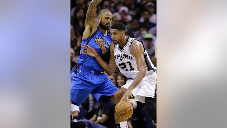 San Antonio Spurs' Tim Duncan (21) is defended by Dallas Mavericks' Tyson Chandler during the first half of an NBA basketball game Tuesday, Oct. 28, 2014, in San Antonio. (AP Photo/Eric Gay)