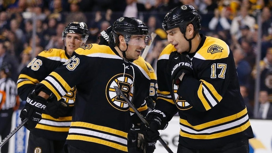 Boston Bruins' Milan Lucic (17) celebrates his goal with teammate Brad Marchand (63) in the second period of an NHL hockey game against the Minnesota Wild in Boston, Tuesday, Oct. 28, 2014. (AP Photo/Michael Dwyer)