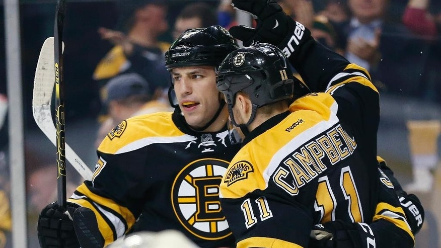 RETRANSMISSION TO CORRECT WHOSE GOAL - Boston Bruins left wing Milan Lucic, left, celebrates a goal by Seth Griffin, not pictured, with teammate Gregory Campbell (11) in the second period of an NHL hockey game in against the Minnesota Wild Boston, Tuesday, Oct. 28, 2014. (AP Photo/Michael Dwyer)