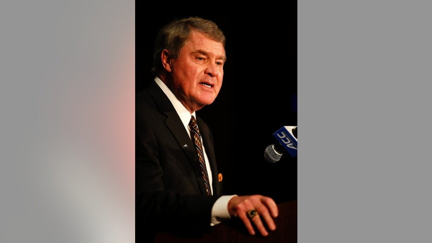Atlantic Coast Conference commissioner John Swofford speaks at the Atlantic Coast Conference NCAA college basketball media day in Charlotte, N.C., Wednesday, Oct. 29, 2014. (AP Photo/Nell Redmond)