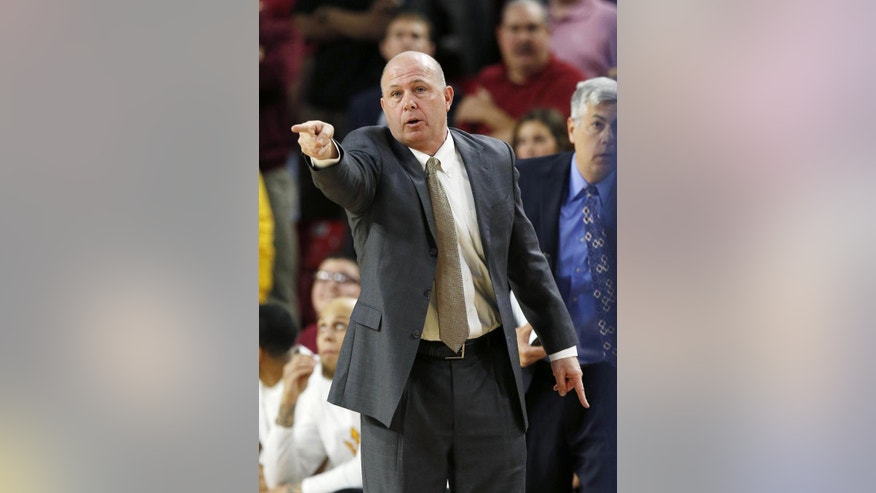 FILE - In this Feb. 14, 2014 file photo, Arizona State head coach Herb Sendek shouts instructions to his players during the first half of an NCAA college basketball game against Arizona, in Tempe, Ariz. With Jahil Carson and Jordan Bachynski gone, the Sun Devils may have more questions than answers this season.  (AP Photo/Ross D. Franklin, File)