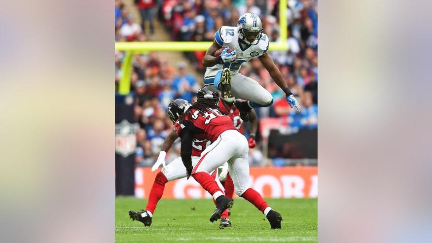 10ThingstoSeeSports - Detroit Lions wide receiver Jeremy Ross (12) leaps open a challenge by Atlanta Falcons strong safety Kemal Ishmael (36) during an NFL football game at Wembley Stadium, London, Sunday, Oct. 26, 2014. (AP Photo/Tim Ireland, File)