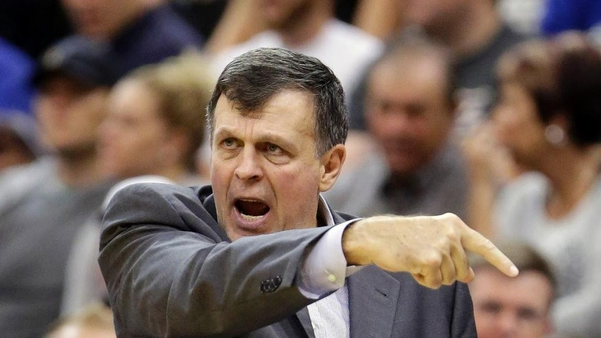 Houston Rockets' head coach Kevin McHale shouts to his team in the first half during an NBA basketball game against the Utah Jazz, Wednesday, Oct. 29, 2014, in Salt Lake City. (AP Photo/Rick Bowmer)